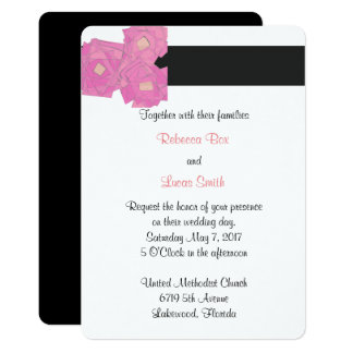Pink Stripes/Florals Wedding Celebration Invite