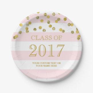 Pink Stripes Gold Confetti Graduation 2017 Paper Plate