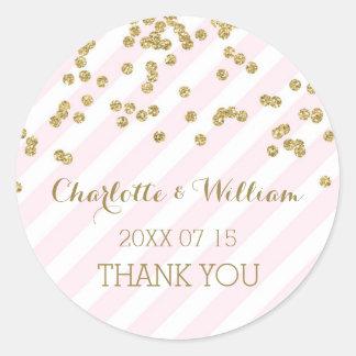 Pink Stripes Gold Confetti Wedding Favor Tags Round Sticker