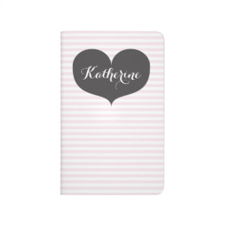 Pink stripes & grey heart - Personalized Journal