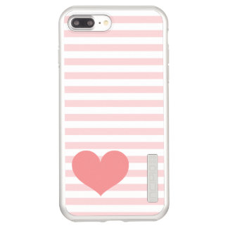 Pink Stripes & Heart Incipio DualPro Shine iPhone 8 Plus/7 Plus Case