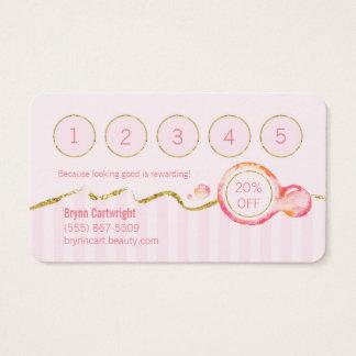 Pink Stripes Lipgloss Makeup Loyalty Card