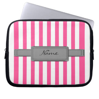 Pink stripes Neoprene Laptop Sleeve