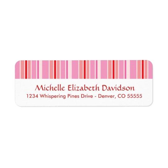 Pink Stripes Personalised Return Address Labels