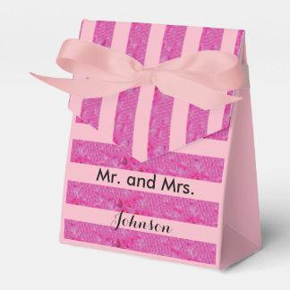 Pink Stripes Personalizable Wedding Favor Box