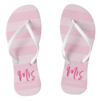 Pink Stripes Personalize with Name Mrs Thongs