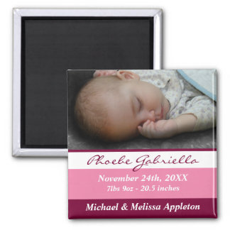 Pink Stripes Photo Birth Announcement Magnet