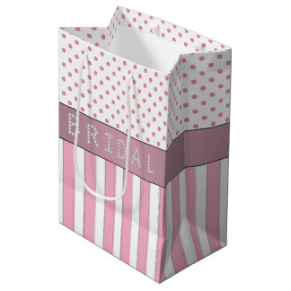 Pink Stripes/Polka Dots Diamond Bridal Shower Medium Gift Bag