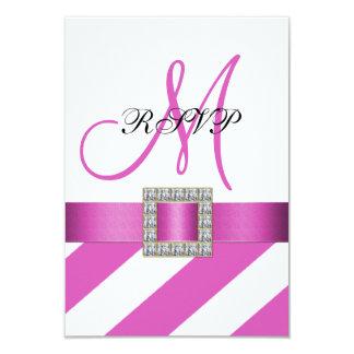 Pink Stripes, Ribbon, Initial Wedding RSVP 9 Cm X 13 Cm Invitation Card