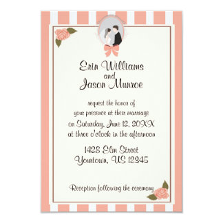 Pink Stripes Roses Cameo Invitation