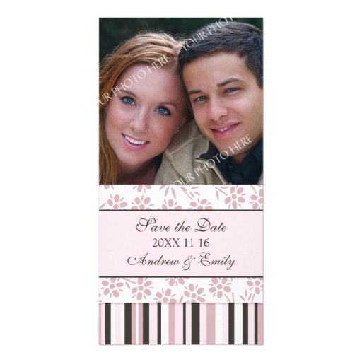 Pink Stripes Save the Date Wedding Photo Cards