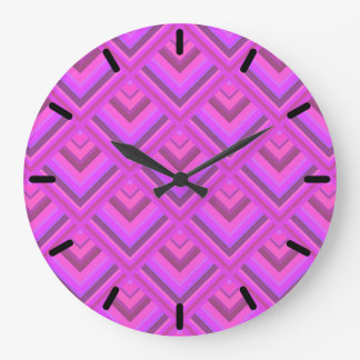 Pink stripes scale pattern large clock