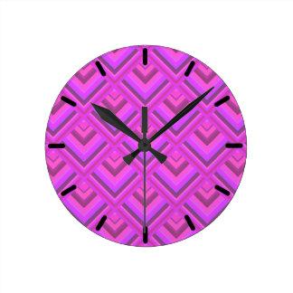 Pink stripes scale pattern round clock