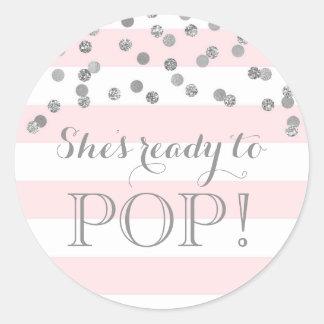 Pink Stripes Silver Confetti She's Ready to Pop Classic Round Sticker