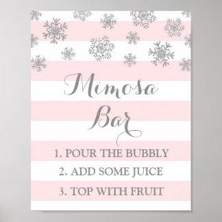 Pink Stripes Silver Snow Mimosa Bar Sign