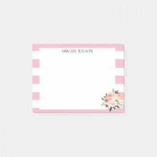 Pink Stripes Spring Peonies Personalised Post-it Notes