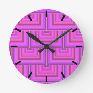 Pink stripes square scales pattern round clock