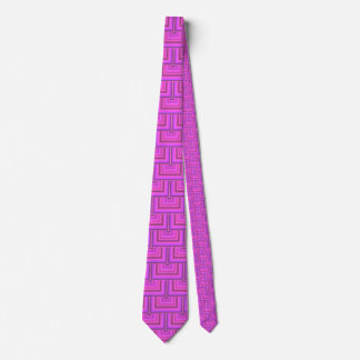 Pink stripes square scales pattern tie