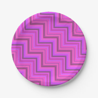 Pink stripes stairs pattern 7 inch paper plate