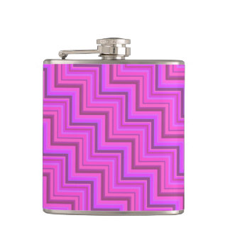 Pink stripes stairs pattern hip flask