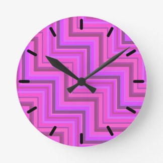 Pink stripes stairs pattern round clock