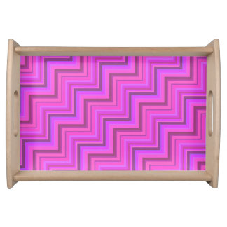 Pink stripes stairs pattern serving tray