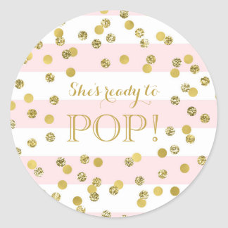 Pink Stripes Stripes Confetti She's Ready to Pop Classic Round Sticker