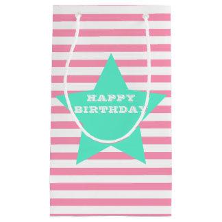 Pink  Stripes & Teal Star Birthday Gift Bag