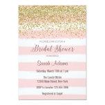 Pink Stripes Watercolor Bridal Shower Invitation