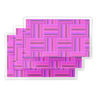 Pink stripes weave pattern acrylic tray