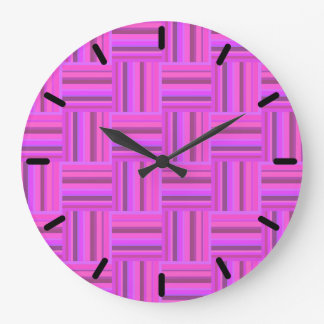 Pink stripes weave pattern large clock