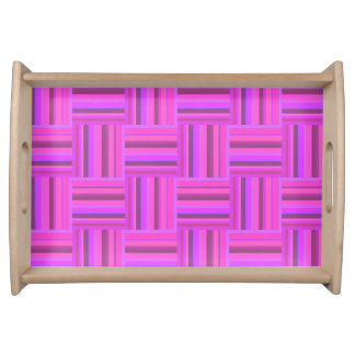 Pink stripes weave pattern serving tray