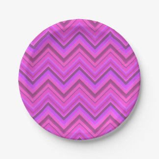 Pink stripes zigzag pattern 7 inch paper plate
