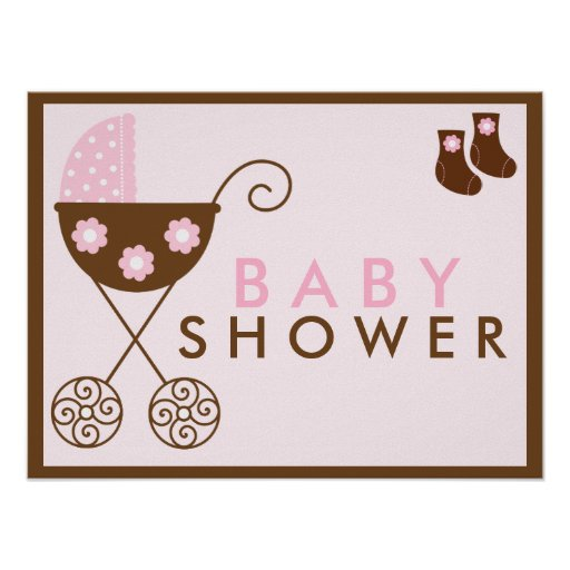 pink stroller baby shower sign print zazzle