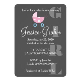 Pink Stroller Girl BabyShower Invitation