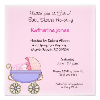 Pink Stroller Shower Invitation