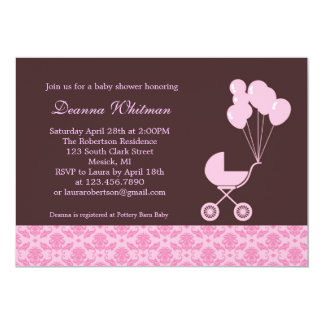 Pink Stroller with Balloons Baby Shower Invitation