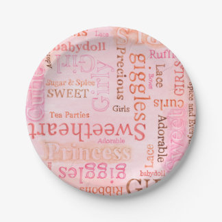 Pink Sugar and Spice Girlie Paper Plate