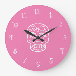Pink Sugar Skull Large Clock