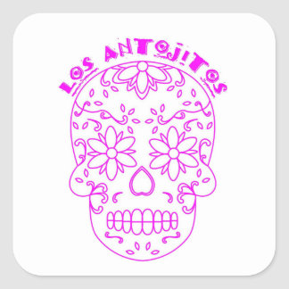 Pink sugar skull logo square sticker