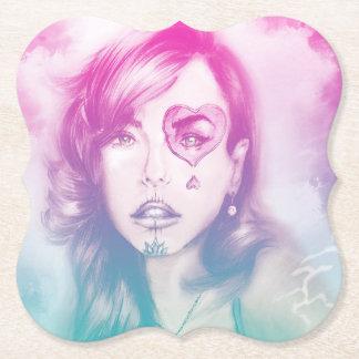 Pink Sugar Skull Makeup Girl, Shaped Coaster