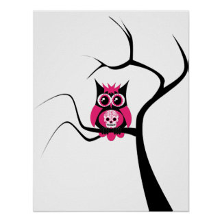 Pink Sugar Skull Owl in Tree Poster