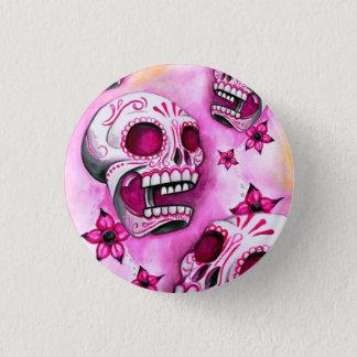 Pink Sugar Skull Round Button