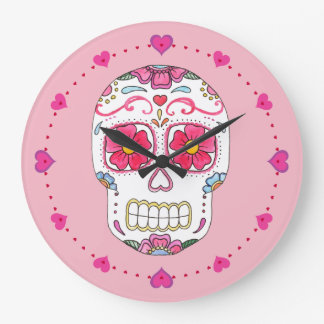 Pink Sugar Skull Wall Clock