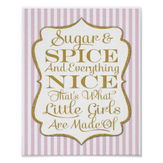 Pink Sugar & Spice Girls Made Of Sign Print