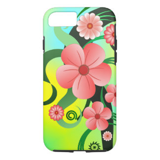 Pink Summer Flowers Tropical Hibiscus Floral Tough iPhone 8/7 Case