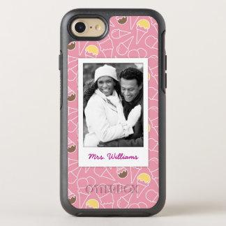Pink Summer Ice Cream Pattern | Monogram OtterBox Symmetry iPhone 8/7 Case