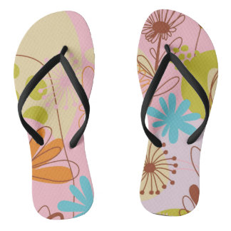 Pink Sun and Sea Adult, Slim Straps Flip Flops