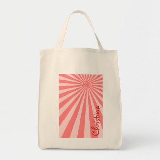 """Pink Sunburst """"Add Your Name"""" Grocery Tote Bag"""