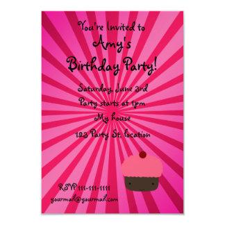 "Pink sunburst cupcake invitations 3.5"" x 5"" invitation card"
